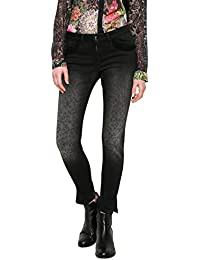 Desigual Denim_second Skin Gold, Jean Slim Femme