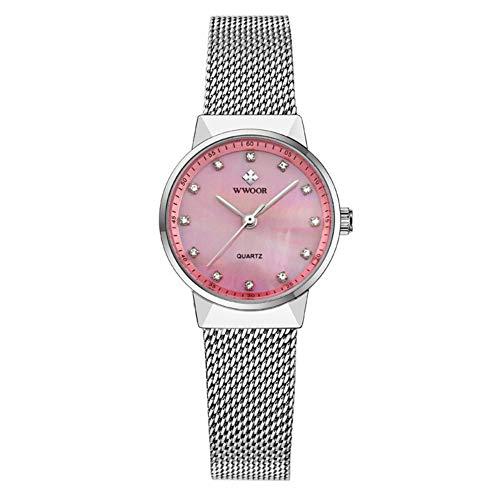 ZHANGZ0 Mode Uhr Mesh Gürtel Quarzuhr Strass Shell Oberfläche Wasserdicht Und Hohe Temperatur Business Casual Für Damen,Pink -