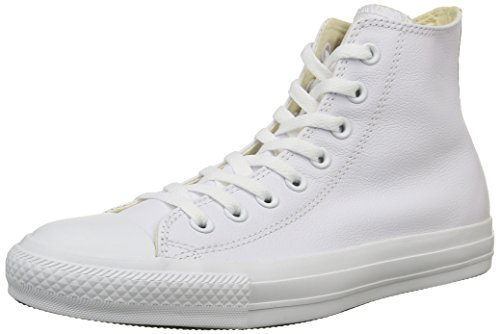 Converse, All Star Hi Leather Sneaker,Unisex Adulto, Bianco (White Monochrome), (Converse Donna All Star Hi)