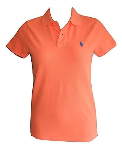 Ralph Lauren Ladies Polo Shirt Skinny Fit Short Sleeve (S, Neon Orange)
