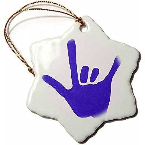 3dRose LLC ORN _ 13584_ 1Love Lengua de signos Azul Copo De Nieve Para Colgar, diseño de porcelana, 3-Inch