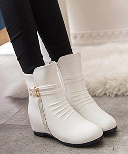 Aisun Femme Confortable Chaussures Compensées Strass Low Boots Bottines Blanc
