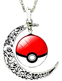 EVRYLON Pokemon go Collar Poke Ball Pokeball Doble Luna cabujón Unisex Blanco Rojo Pokemon go Pikachu Pokeball pokè