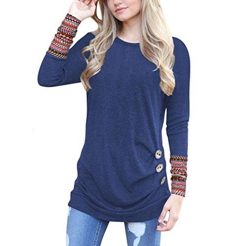 OverDose Frauen Solide Shirt Langarm Botton Falten Bluse Lässig O Neck Casual Tops Plus Größe(XXL,B-Navy) (Braun Gestreifter Pullover)