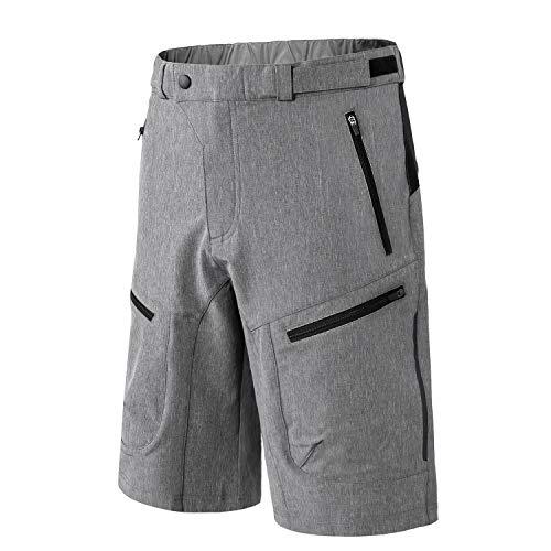 n Kurz MTB Hose Männer Fahrradhose Freizeithose Radlerhose Atmungsaktive 4 Praktische Reißverschlusstaschen für Radsport Freizeit Radreisen City und Alltagstouren(Grey XL) ()