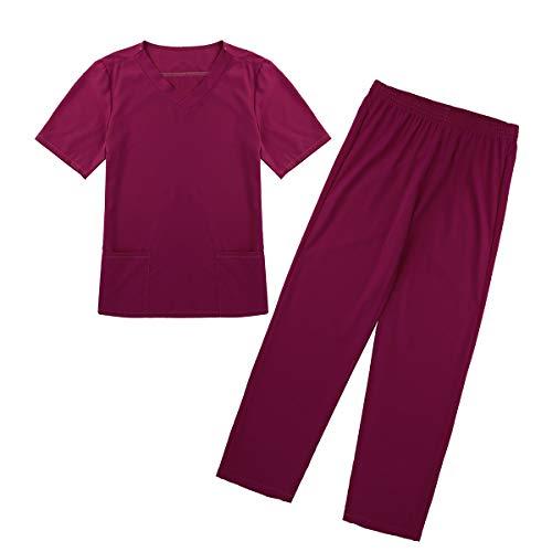 inlzdz Unisex Medical uniform V-Neck Kurzarm Schlupfjacke+Lange Hose Medizinische Uniformen Krankenschwester Kleidung Scrub Set für Damen Herren Weinrot Small -