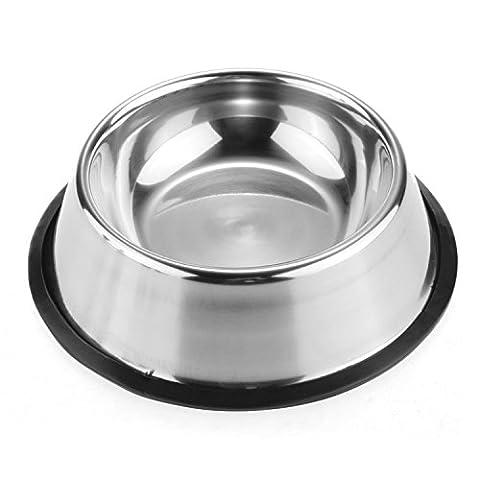 Chiot en acier inoxydable bol de nourriture pour chien Pet Gamelle à eau Plat Sans Pointe sans antidérapant