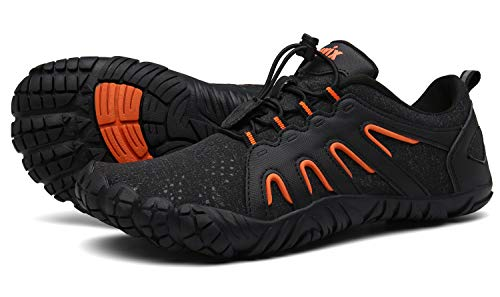 Voovix Herren Damen Barfußschuhe Fitnessschuhe Laufschuhe Minimalistische Traillaufschuhe Trekkingschuhe Wanderschuhe Outdoor Sneaker im Sommer black/orange39