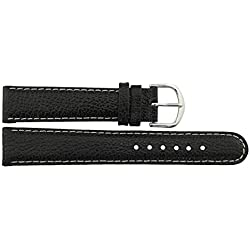 Watch Strap in Black Leather - 18mm - - buckle in Silver stainless steel - B18BlkItr49S