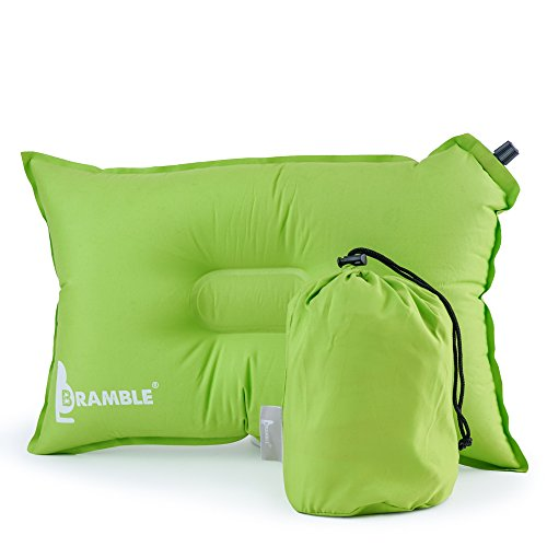 Bramble Almohada Auto inflable de un Material Suave, Fiesta, Camping, Acampar, Senderismo. La mejor Almohada para Viajes - Verde