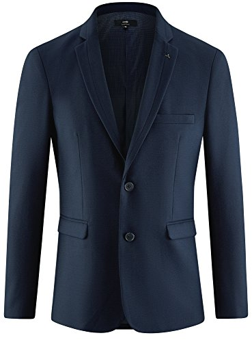 oodji Ultra Herren Taillierter Sakko mit Seitentaschen Blau (7900N)