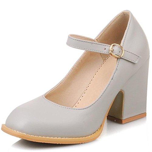 COOLCEPT Mode-Event Damen mary Janes Pumps Knochelriemchen Schuhe Blockabsatz Grau