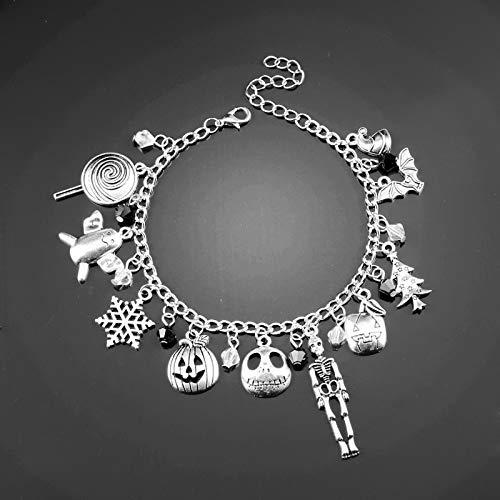 IJEWALRY Damenarmband Armbänder Armband,Mode Feine Nightmare Before Christmas Charm Armband Schädel Weihnachtsbaum Schnee Zeichen Anhänger Kristall Perlen Anhänger Schmuck
