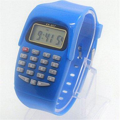 XKC-watches Herrenuhren, Kinder Süßigkeiten Farbe Kalender Quarz-Digital-Charme-Uhr-Rechner (Farbe : Blau)