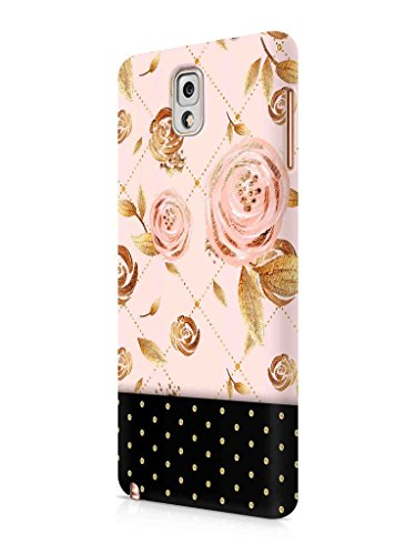 Cover Affair Floral Polka Dots Printed Designer Slim Light Weight Back Cover Case for Samsung Galaxy Note 3 (Pink & Gold & Black)