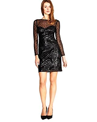 Karen Millen Faux Leather sequin on mesh Pencil Dress Black
