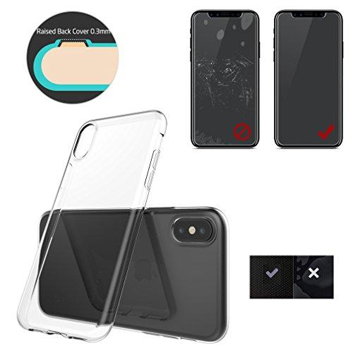 Aursen Custodia per iPhone X Torna Trasparente e Bordo Nero, Regalo di pellicola temperata Trasparente(TPU)