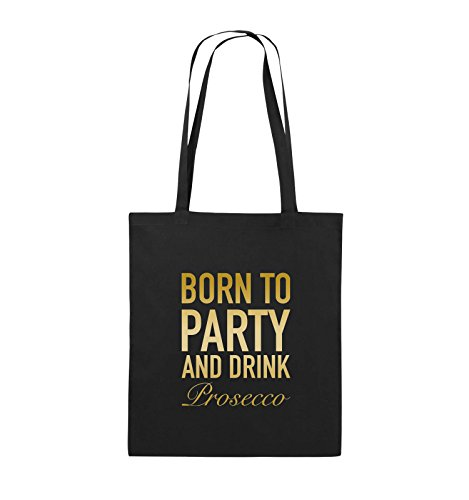 Comedy Bags - BORN TO PARTY - Prosecco - Jutebeutel - lange Henkel - 38x42cm - Farbe: Schwarz / Pink Schwarz / Gold