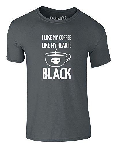Brand88 - I Like My Coffee Like My Heart: Black, Erwachsene Gedrucktes T-Shirt Dunkelgrau/Weiß