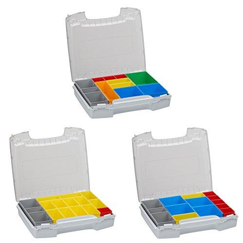 Bosch Sortimo Sparpaket I-BOXX 72 3er Set bestückt mit Insetboxenset für i-RACK oder LS-BOXX (H3 B3 C3, grau)