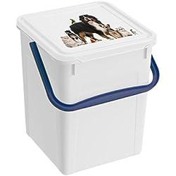Rotho - Caja de almacenamiento para comida de mascotas, fabricada en plástico (PP) - Recipiente con tapa y asa para forrajero seco