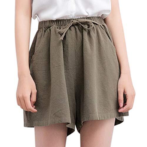 XZDCDJ Shorts Damen Hose kurzen Sommer high Waist elegant Taschen hohe Baumwolle Leinen Solide Lose Hot Pants Taschen Casual (Armee Grün,S) - Solide Dessous Strap