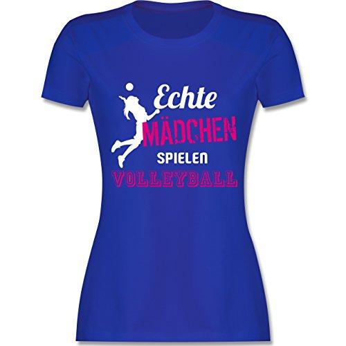 Volleyball - Echte Mädchen Spielen Volleyball - M - Royalblau - L191 - Damen T-Shirt Rundhals