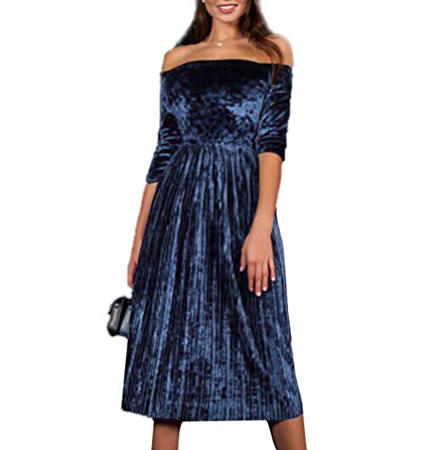 ♪ZEZKT♪Fashion Damen Trägerlos Split Maxikleid Samt Off Shoulder Lange Abendkleid Party Kleider Langarm Samt Velvet Vintage Elegant Cocktailkleid A-Linie Slim Fit Lange Party Kleid (S, Blau) (Jumper Split)
