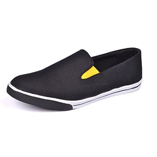 KNOOS Men's Black Canvas Loafers-8-NRI01-BL-8