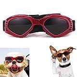 XUNKE Occhiali da Sole e protettivi per Cani di Piccoli Taglia, Anti UV, Impermeabili, Pieghevole Pet Dog Occhiali (Red)