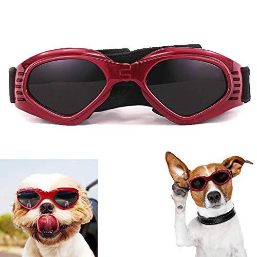 XUNKE Hunde Sonnenbrille, Haustier Sonnenbrille, UV Schutzbrille, Wasserdicht, Winddicht, mit Verstellbarem Gurt, für kleine und mittlere Hunde(Rot)