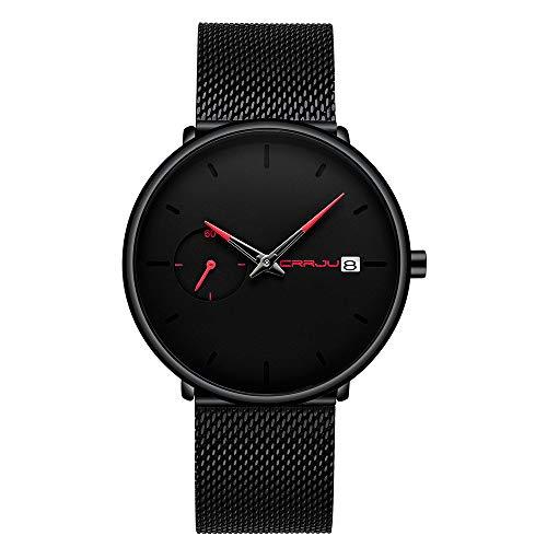 ba5847fc2adc Relojes Para Hombre Minimalista Cuarzo Analógico Con Malla De Fecha Correa  De Acero Inoxidable Reloj Impermeable