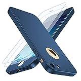 Losvick Coque iPhone 5/5S, iPhone Se Housse 360° Complète PC Matière [2× Film de Verre trempé] Étui 3 en 1 Antichoc Ultra Mince Case Anti-Rayures, Bumper Protection pour iPhone 5/5s/SE - Bleu
