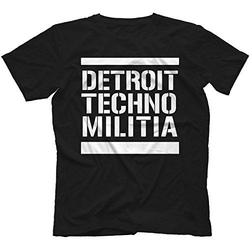 Detroit Techno Militia T-Shirt 100% Cotton Vinyl 909 Underground Resistance[Black,M]