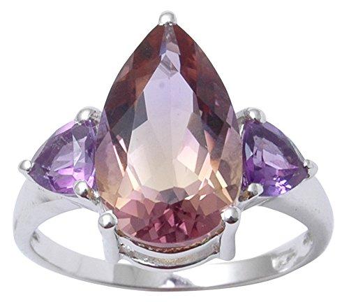 ng Silber indische Mode Amethyst und Ametrine Stein Ring Schmuck ()