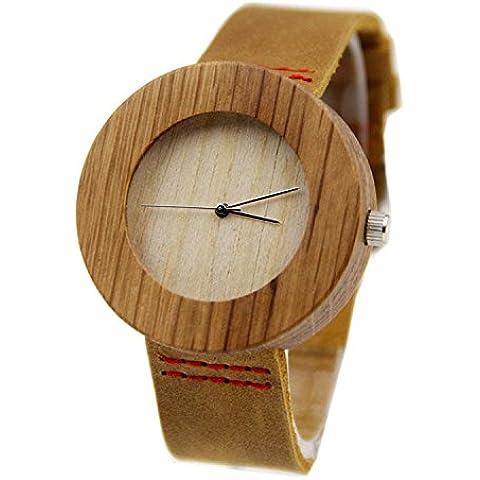 Shou & BZ La nueva madera relojes/unisex/Natural madera/Bambú/par reloj/correa de piel/regalo/wearable/accesorios, color marrón