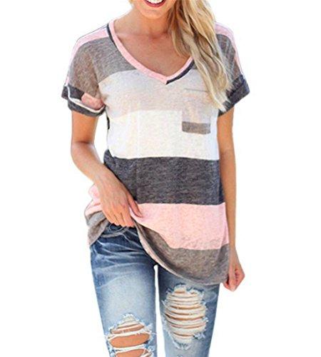 Damen Tops Atdoshop Sommer Buntes Gestreiftes Loose Kurzarm V-Ausschnitt Shirt Hemd Bluse T-Shirt (XL, Grau) (Animal Damen Badeanzug Unten)