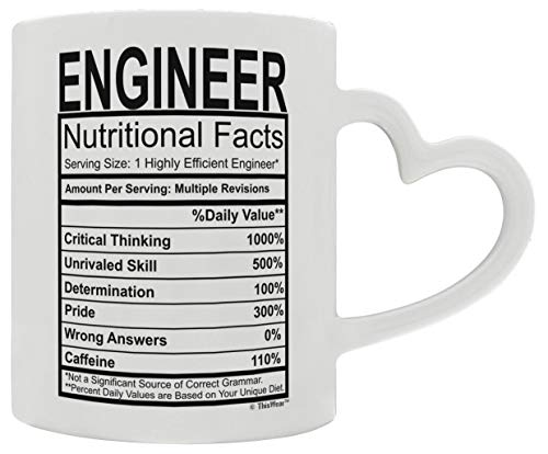 Engineering Gifts Engineer Nutritional Facts Engineer Gifts for Women Engineer Graduation Gifts Civil Engineering Heart Handle Gift Coffee Mug Tea Cup White