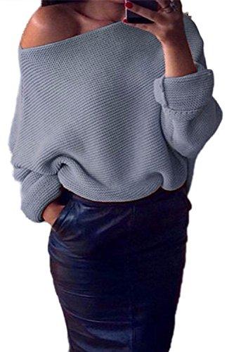Herbst - Winter - Elegante Frauen Boatneck Batwing - Lange Ärmel Pullover Stricken Pullover Locker Strickjacke Grey One Size - Boatneck Strickjacke