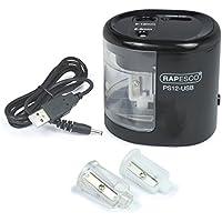 Rapesco Accesorios - Sacapuntas Eléctrico PS12 con Conexión USB, Color Negro