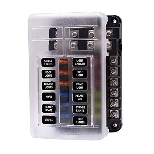 12-In 12-Wege Sicherung Box Halter mit LED-Anzeige 30A Auto Sicherung Box Power Insert Typ unabhängige positive und negative Pole können in Autos installiert werden, Yueshu, Rv, Etc.