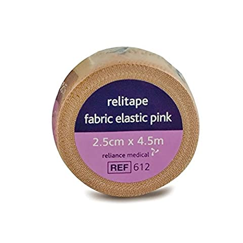 2.5 cm x 4.5 m Pink Relitape Fabric Elastic Strapping