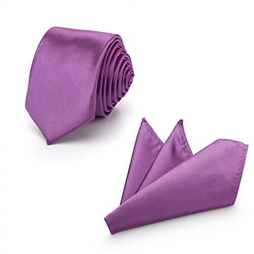 (Rusty Bob - Krawatte mit Einstecktuch (in vielen Farben) - für die Verlobung, die Hochzeit - Schlips mit Taschentuch für das Sakko - 2er-Set - Amethyst)