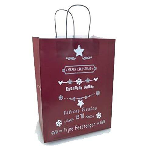 Tata Gisèle Geschenkbeutel aus Papier, mit Griff, Weihnachten, 26 x 32 cm, Rot, 5 Stück -