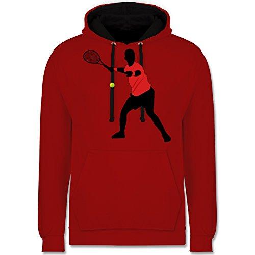 Tennis - Tennis Vorhand - Kontrast Hoodie Rot/Schwarz