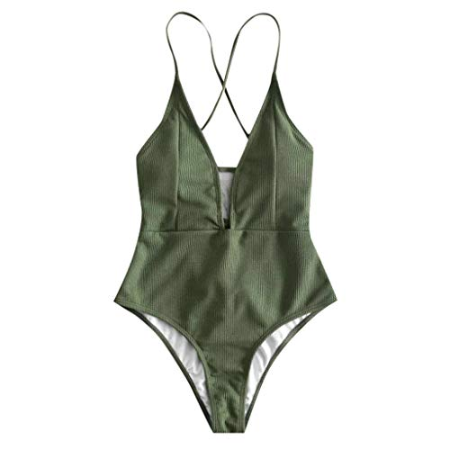 xinxinyu Damen Einteiliger Mode Badeanzug V Ausschnitt Rückenfrei Retro Beach Bademode Bikini Set Monokini Push Up Gepolsterten Bikini Schwimmen (M, Army Green)