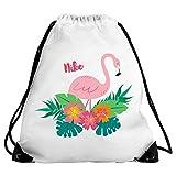 Eurofoto Turnbeutel mit Namen Nike und Tropischem Flamingo-Motiv für Mädchen | Sport-Beutel für Kinder | Gymbag