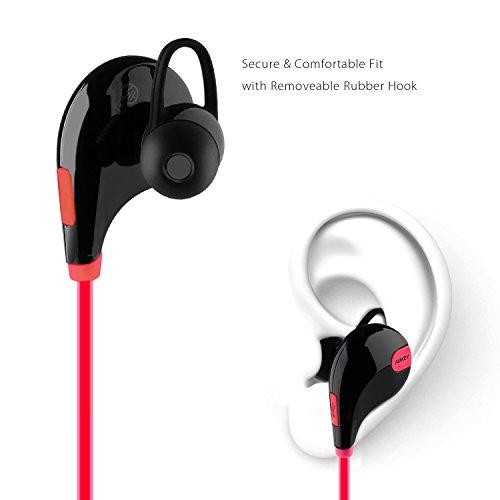 AUKEY Auriculares Bluetooth 4.1 Sport Inalámbrico headphone In Ear Stereo Cuello con Micrófono Resistente al Sudor para iOS  Android  iPad  etc. Smartphones ( EP B4 Rojo )