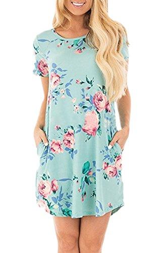 YMING Damen Blusenkeid Lose Tunika Kleid Kurzarm Casual Blumen T-Shirt Kleid,XS-XXL(32-46) Hell Blau