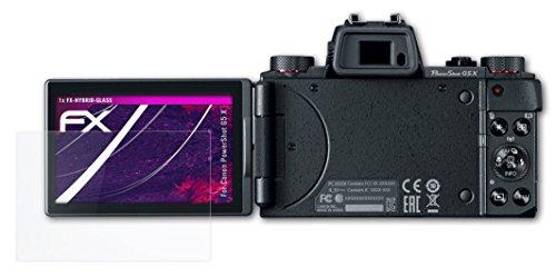Preisvergleich Produktbild atFoliX Canon PowerShot G5 X Glasfolie - FX-Hybrid-Glass Elastische 9H Kunststoff Panzerglasfolie - Besser als Echtglas Panzerfolie